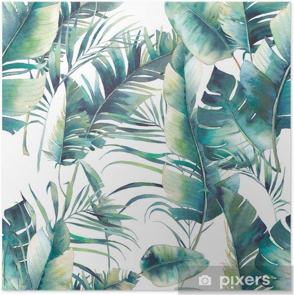 Poster Zomer palmboom en bananenbladeren naadloze patroon. waterverftextuur met groene takken op witte achtergrond. hand getekend tropisch behang ontwerp - Bloemen en Planten