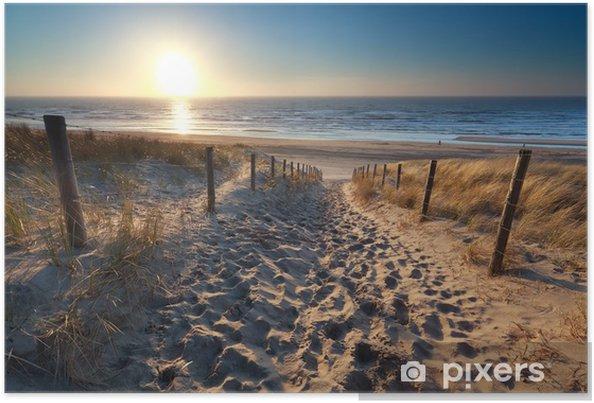 Poster Zonneschijn over pad naar het strand in Noordzee - Bestemmingen
