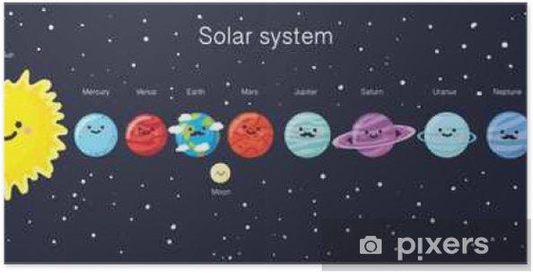 Poster Zonnestelsel met leuke het glimlachen planeten, de zon en de maan. - Wetenschap
