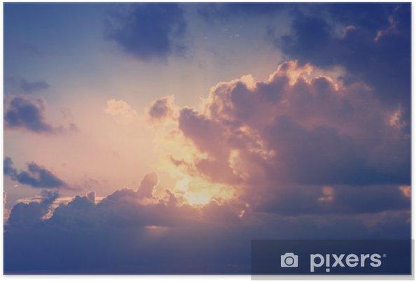 Poster Zonnige hemel achtergrond in vintage retro-stijl - Landschappen
