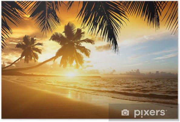 Poster zonsondergang boven de Caribische zee - Palmbomen