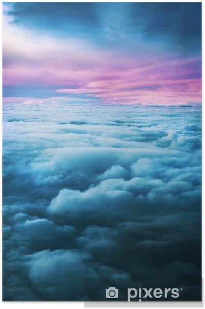 Poster Zonsondergang boven de wolken - Hemel