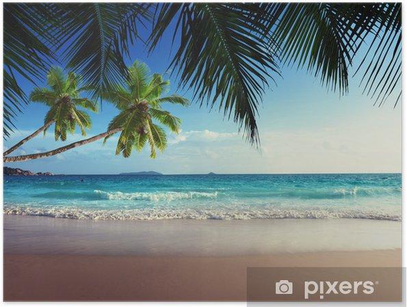 Poster Zonsondergang op het strand van de Seychellen - iStaging