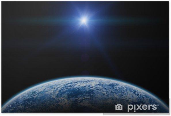 Poster Zonsondergang Zonsopgang Boven De Aarde Op Een Sterrenloze Hemel