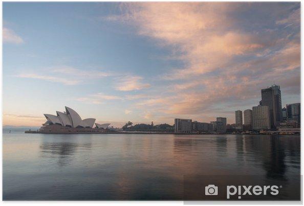 Poster Zonsopgang bij Opera house mijlpaal van Sydney, Australië - Thema's