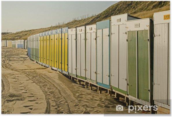 Poster Zoutelande Nederland strandhuisjes op strand - Europe