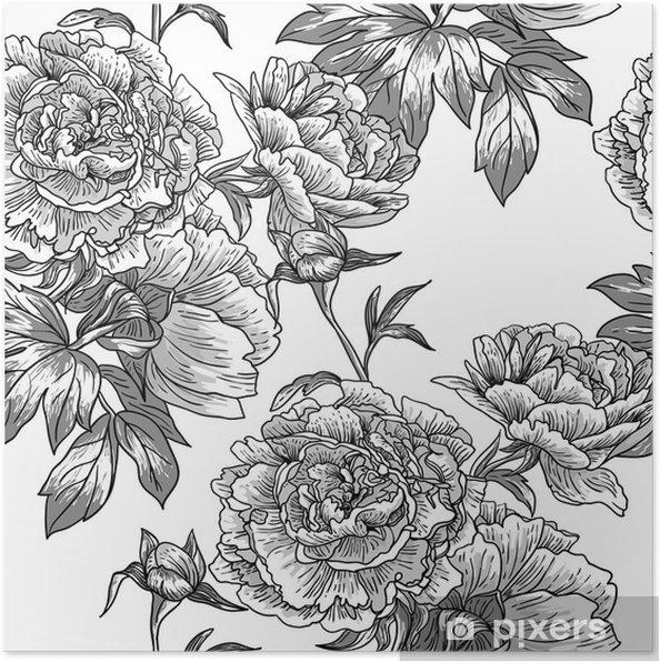 Poster Zwart-wit naadloze patroon - Bloemen