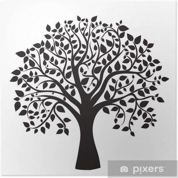 Poster Zwarte boom silhouet op een witte achtergrond - Muursticker
