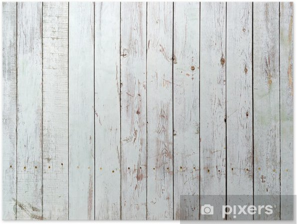 Poster Zwarte en witte achtergrond van houten plank -