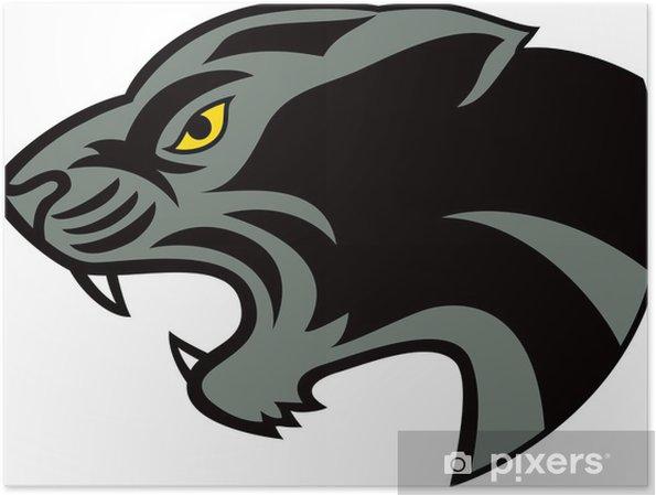 Poster Zwarte panter hoofd - Zoogdieren