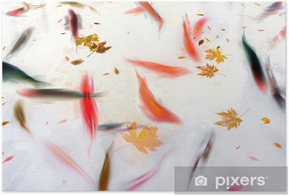 Poster Zwemmende vissen Koi in de Vijver Abstracte Illustratie - Dieren