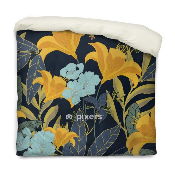 Poszewka na kołdrę Abstrakcyjny wzór elegancji z kwiatów tle. - Rośliny i kwiaty