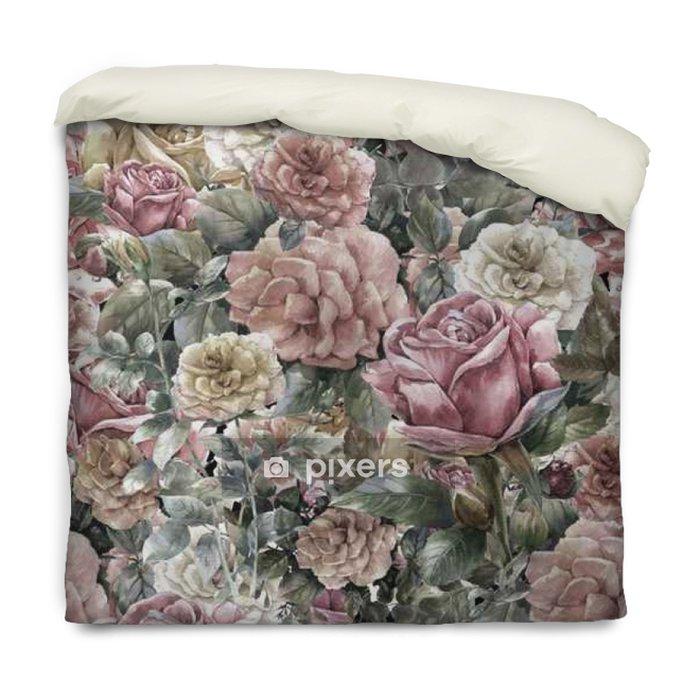 Poszewka na kołdrę Akwarela kwiaty, róża, bez szwu wzór - Zasoby graficzne
