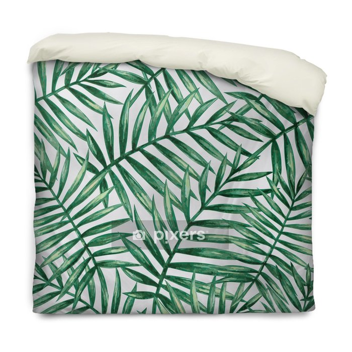 Poszewka na kołdrę Akwarela tropikalny palmy pozostawia wzór. ilustracji wektorowych. - Zasoby graficzne