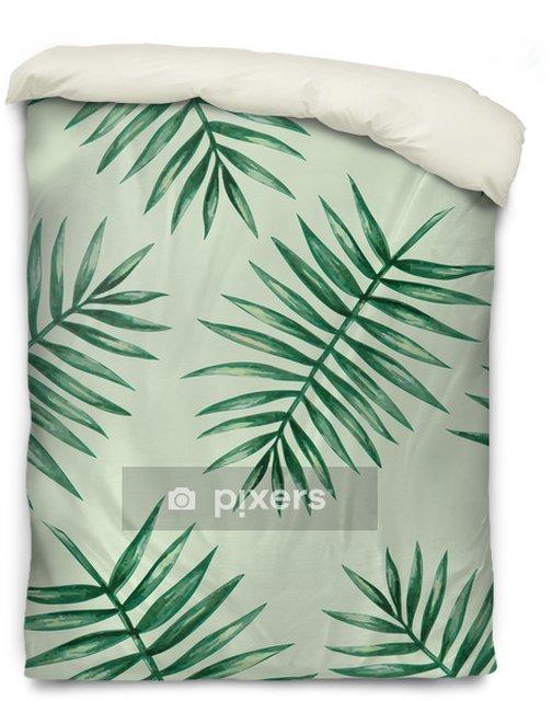 Poszewka na kołdrę Akwarela tropikalnych liści palmowych szwu wzorca. ilustracji wektorowych. - Zasoby graficzne