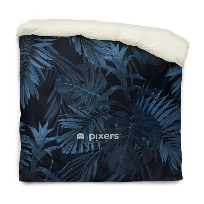 Poszewka na kołdrę Egzotyczny tropikalny vrctor tło z hawajskimi roślinami i kwiatami. bez szwu indygo tropikalny wzór z monstera i sabal liści palmowych, kwiaty guzmania. - Rośliny i kwiaty