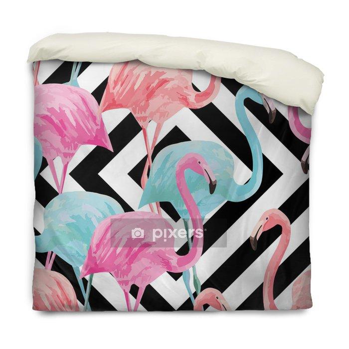 Poszewka na kołdrę flamingo watercolor pattern, geometric background - Ptaki