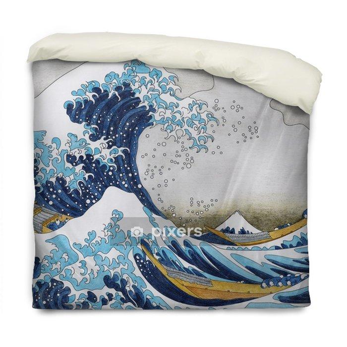 Poszewka na kołdrę Hokusai wielka fala kolorowanki dla dorosłych kanagawa - Zasoby graficzne