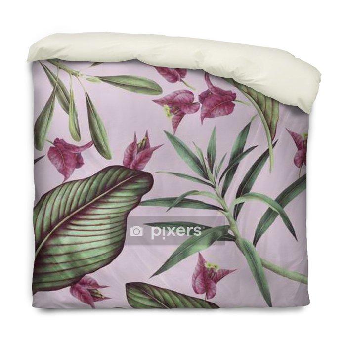 Poszewka na kołdrę Jednolite wzór tropikalny kwiat, akwarela. - Rośliny i kwiaty