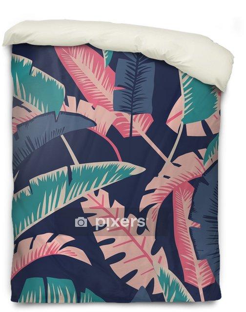 Poszewka na kołdrę Kreskówka palmy pozostawia bezszwowe ciemnoniebieskie tło - Zasoby graficzne