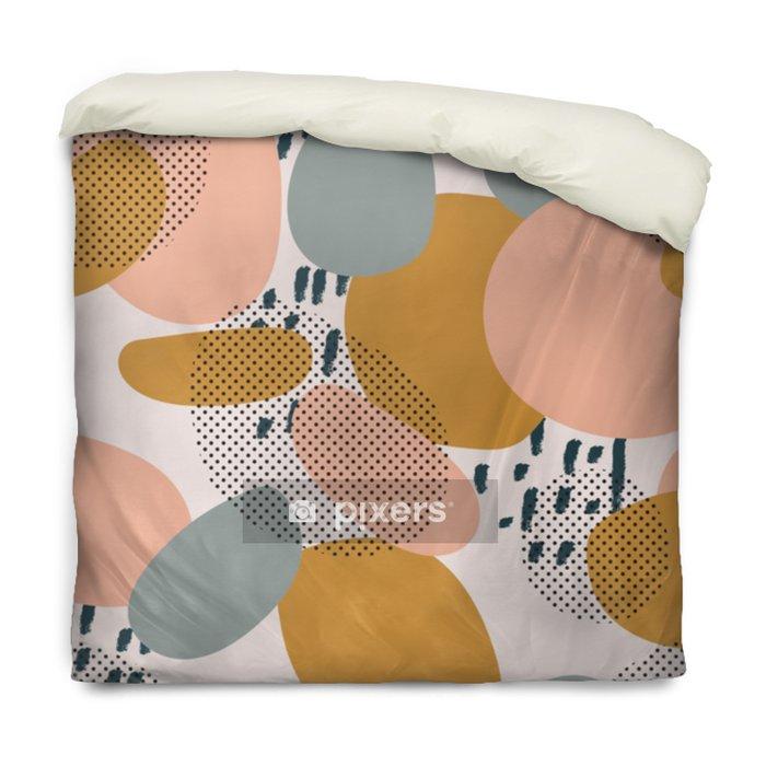 Poszewka na kołdrę Modny wzór geometryczne kształty i gryzmoły. kolorowy wzór memphis - Zasoby graficzne