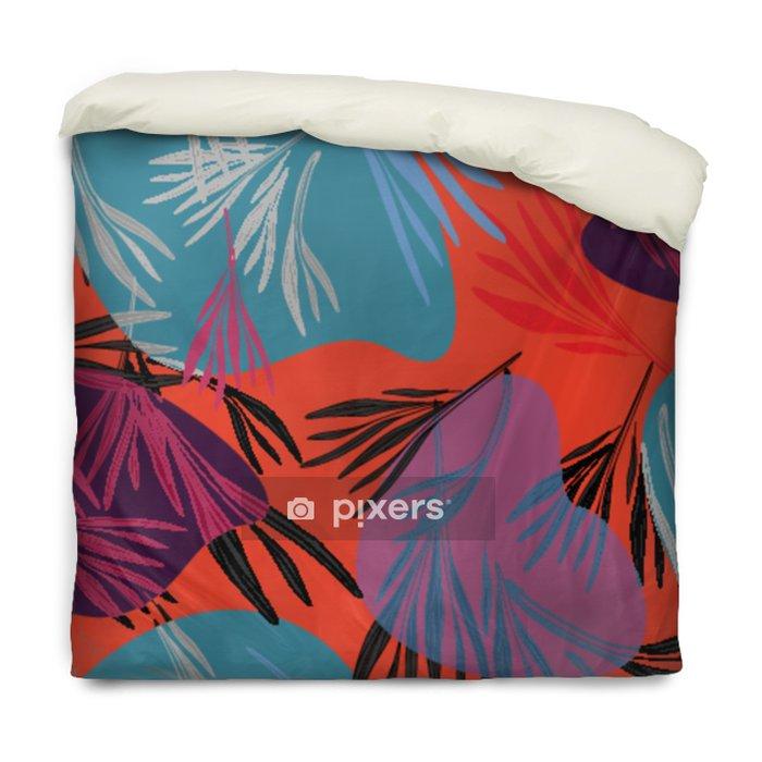 Poszewka na kołdrę Tropikalny kolorowy liść palmowy tło. wektor jasny lato kwiatowy ilustracja. wydruk drzewa z listowia. egzotyczna roślina leśna .. - Zasoby graficzne