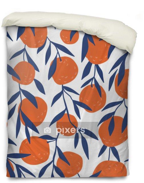 Poszewka na kołdrę Tropikalny wzór z czerwonych pomarańczy. owoce powtarzane tło. wektor jasny druk na tkaninie lub tapecie. - Zasoby graficzne
