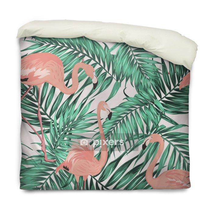 Poszewka na kołdrę Turkusowy zielony tropikalnej dżungli liści drzewa palmowego. różowe egzotyczne flamingo brodzące ptaki. bezszwowa deseniowa tekstura na białym tle. - Zwierzęta