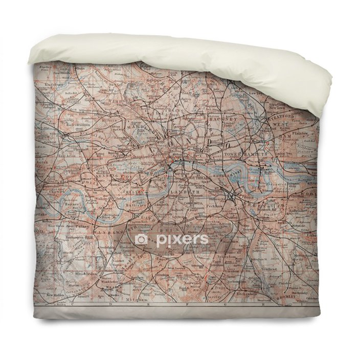 Poszewka na kołdrę Vintage mapa Londyn i okolice - Style