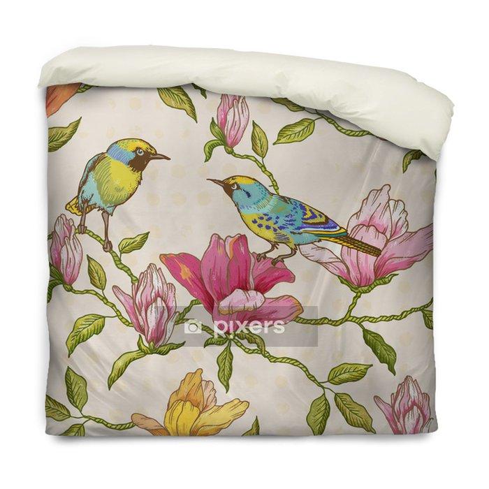 Poszewka na kołdrę Vintage szwu tła - kwiaty i ptaki - Pory roku