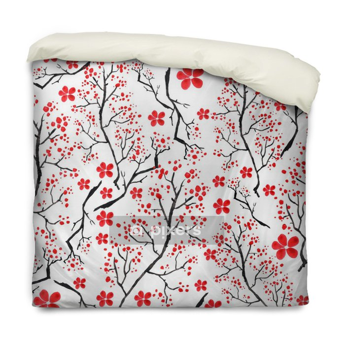 Poszewka na kołdrę Vintage wzór akwarela - wiśnie ozdobne gałąź, wiśnia, rośliny, kwiaty, elementy. Może on być stosowany w konstrukcji, opakowania, tkaniny i tak dalej. - Rośliny i kwiaty