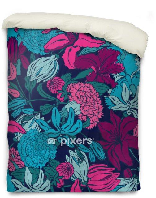 Poszewka na kołdrę Wzór z lilii, ylang, róże, kwiaty goździka. kolorowa wektorowa ilustracja. drukuj na tekstylia domowe i odzież, tkaniny, tekstylia - Zasoby graficzne