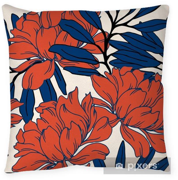 Poszewka na poduszkę Abstrakcyjny wzór elegancji z kwiatów tle. - Rośliny i kwiaty