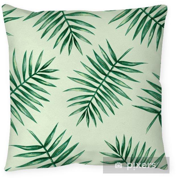 Poszewka na poduszkę Akwarela tropikalnych liści palmowych szwu wzorca. ilustracji wektorowych. - Zasoby graficzne