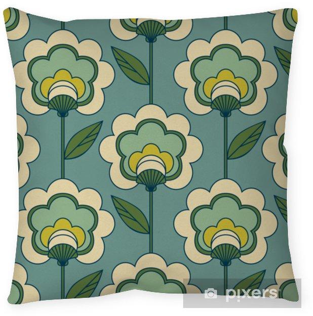 Poszewka na poduszkę Bez szwu retro kwiatowy wzór - Zasoby graficzne