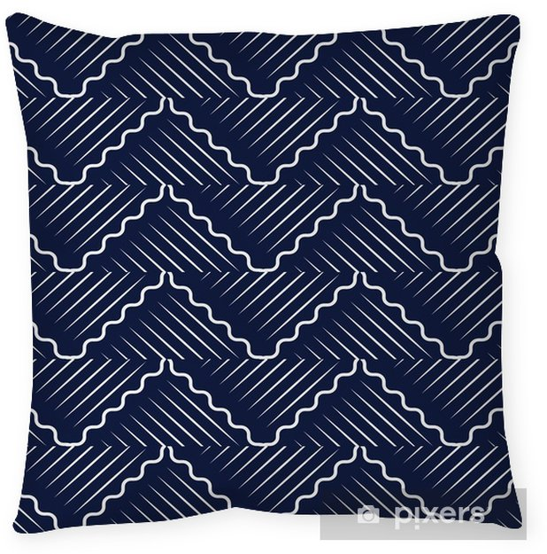 Poszewka na poduszkę Bezszwowe niebieskie tło chińskie orientalne krzywej fali krzyża geometrii linii - Zasoby graficzne