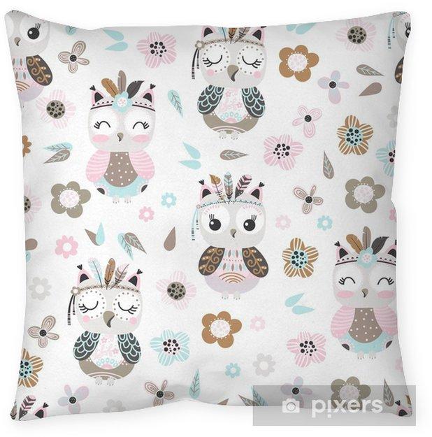 Poszewka na poduszkę Bezszwowe tło z kreskówki Sowa - Zwierzęta