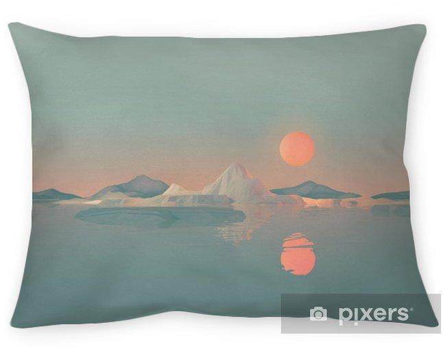 Poszewka na poduszkę Geometryczny krajobraz górski ze słońcem odbijającym się na wodzie - Krajobrazy