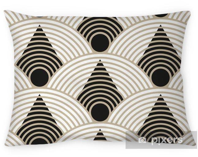 Poszewka na poduszkę Japoński bezszwowych z trójkątów i skali okręgu w kolorze czarnym i beżowym - Zasoby graficzne