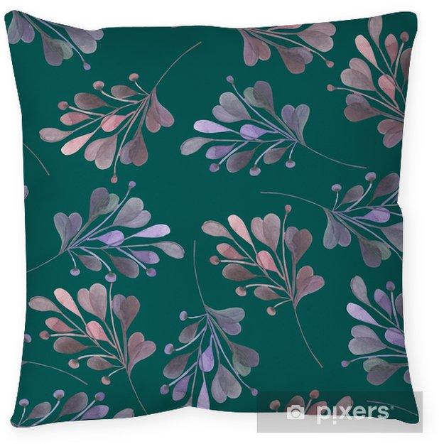Poszewka na poduszkę Jednolite wzór z różowym i fioletowym Akwarele liści i gałęzi na tle ciemnej zieleni, dekoracji ślubnych, ręcznie rysowane w pastelowych - Zasoby graficzne