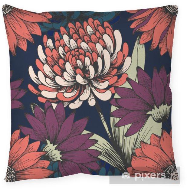 Poszewka na poduszkę Kwiaty w nocnym ogrodzie. rysunek odręczny. elegancki kwiatowy wzór - Rośliny i kwiaty