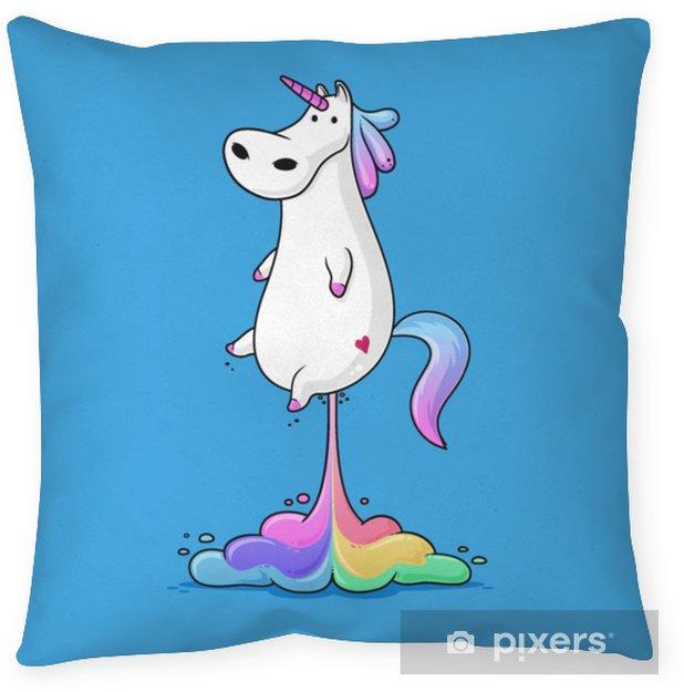 Poszewka na poduszkę Ładny gruby jednorożec pierdzenie tęcza zabawny wektor ilustracja kreskówka - Zwierzęta