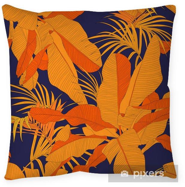 Poszewka na poduszkę Modny tropikalnych tkaniny bez szwu wzór, czerwony liści palmy na ciemnym granatowym tle, ilustracji wektorowych - Zasoby graficzne