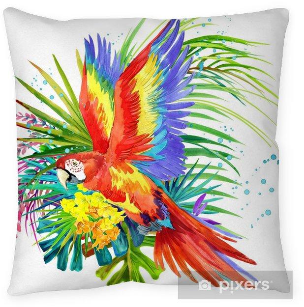 Poszewka na poduszkę Papuga ptak akwarela ilustracja. tropikalny kwiat tło. natura raju. projekt koszulki - Zwierzęta