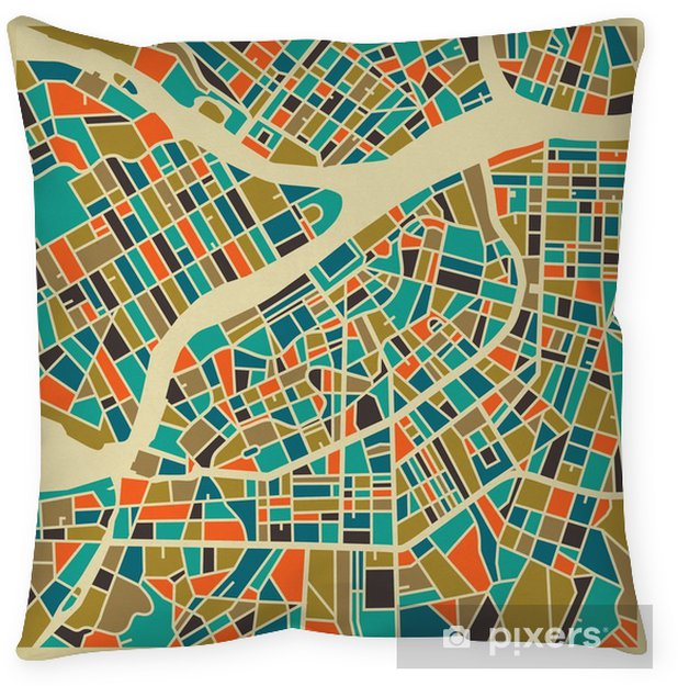 Poszewka na poduszkę Petersburg map wektorowych. Kolorowe rocznika podstawy projektowania karty podróży, reklamy, prezent lub plakatu. - Podróże