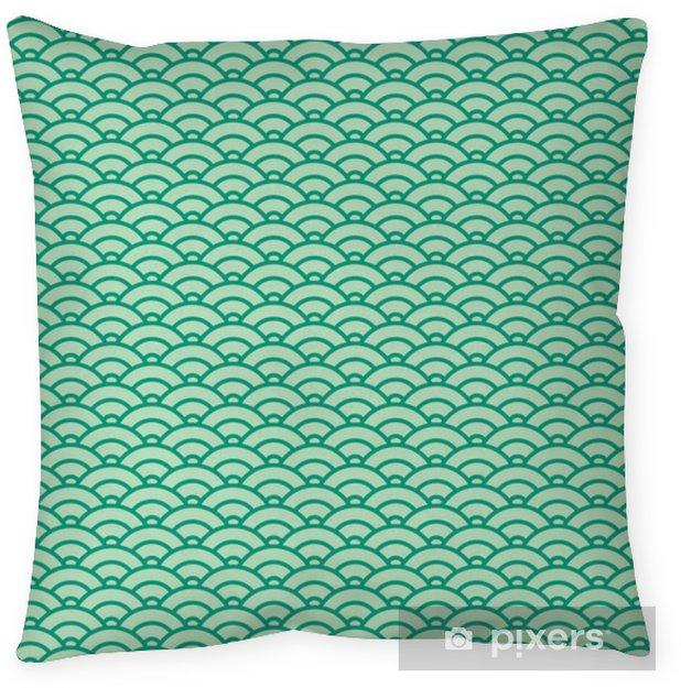 Poszewka na poduszkę Podstawowy wzór japońskiej fali. zielony schemat kolorów - Zasoby graficzne