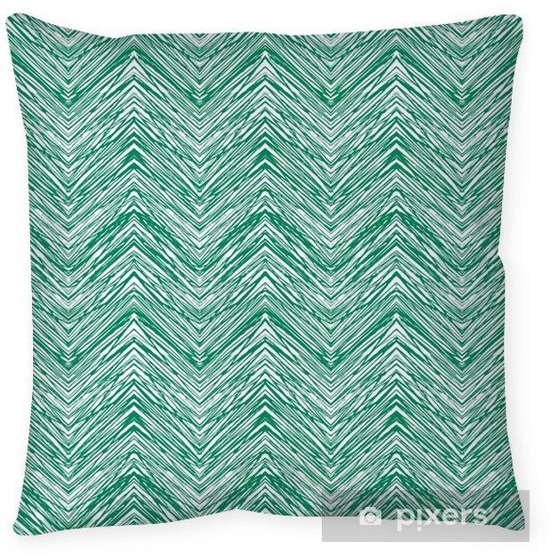 Poszewka na poduszkę Ręka szmaragdowo zielony ciągnione wektor wzór zygzak - Zasoby graficzne