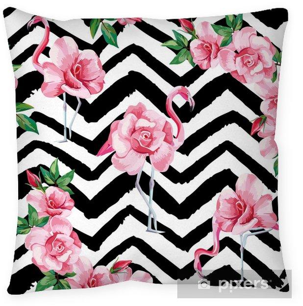 Poszewka na poduszkę Róże flamingo wzór czarny biały zygzak tło - Zasoby graficzne