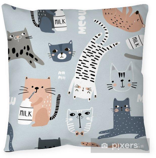 Poszewka na poduszkę Wzór z różnych śmieszne koty. twórcza dziecinna tekstura. doskonale nadaje się do tkaniny, ilustracji wektorowych włókienniczych - Zasoby graficzne