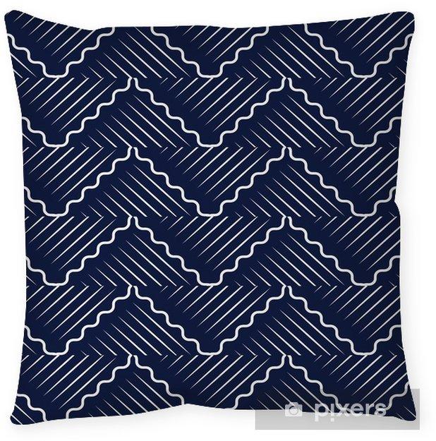 Povlak na polštář Bezešvé modrá čínština pozadí orientální křivka vlna kříž geometrie linka - Grafika